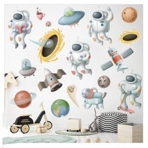 Astronot ve Gezegenler Bebek & Çocuk Odası Duvar Sticker Çıkartma Seti