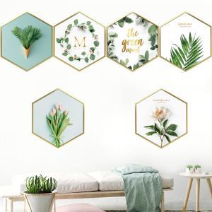 Botanik 6 Köşeli Çerceve Set Ev Dekor Duvar Sticker Çıkartma Seti