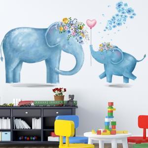 Anne Fil ve Yavrusu Bebek & Çocuk Odası Duvar Sticker Çıkartma Seti