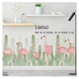 Çoklu Kaktüs ve Flamingo Ev Dekor Duvar Sticker Çıkartma Seti