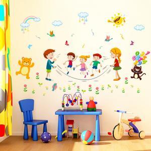 İp Atlayan Çocuklar Bebek & Çocuk Odası Duvar Sticker Çıkartma Seti