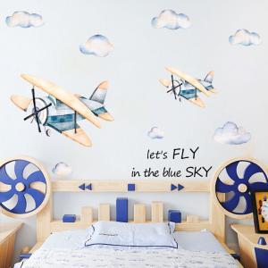 Vintage Mavi Uçak Bebek & Çocuk Odası Duvar Sticker Çıkartma Seti