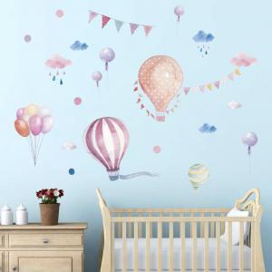 Pembe Uçan Balonlar Bebek & Çocuk Odası Duvar Sticker Çıkartma Seti