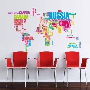 Dünya Haritası Ülkeler Renkli Ev Dekor Duvar Sticker Çıkartma Seti