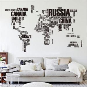 Dünya Haritası Ülkeler Yazılı Ev Dekor Duvar Sticker Çıkartma Seti