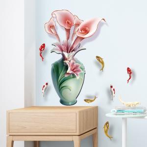 Vazoda Çiçek Ev Dekor Duvar Sticker Çıkartma Seti